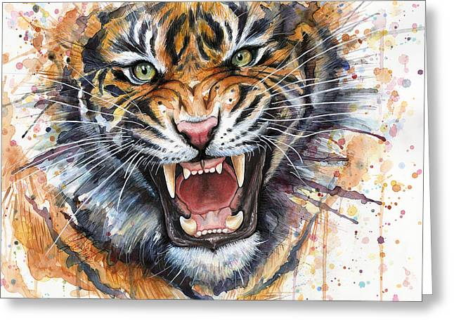 Zoo Greeting Cards - Tiger Watercolor Portrait Greeting Card by Olga Shvartsur