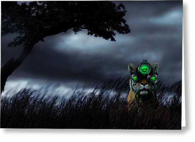 Feline Fantasy Greeting Cards - Tiger Wearing Night Vision Goggles Greeting Card by Panoramic Images