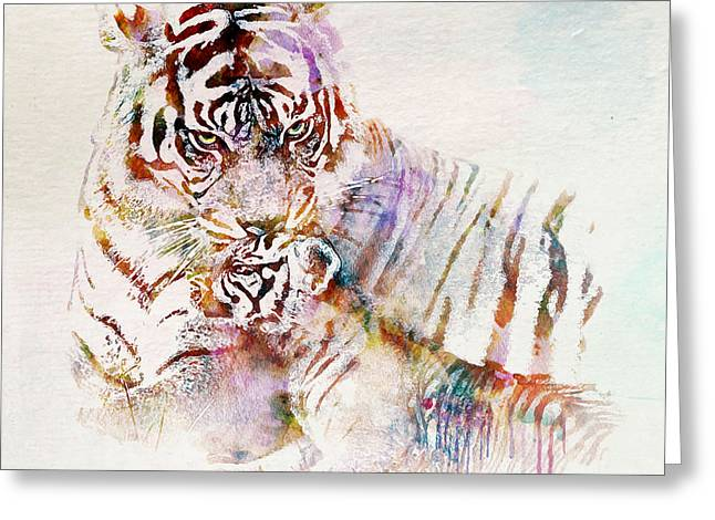 Watercolor Tiger Greeting Cards - Tiger with Cub watercolor Greeting Card by Marian Voicu