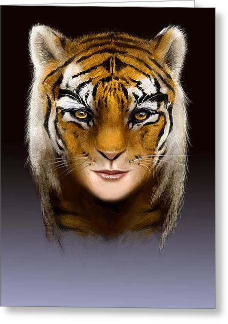 Morph Digital Greeting Cards - Tiger Woman Greeting Card by Arie Van der Wijst