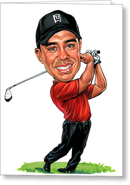 Awesome Greeting Cards - Tiger Woods Greeting Card by Art