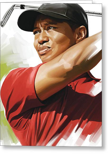Sports Prints Greeting Cards - Tiger Woods Artwork Greeting Card by Sheraz A