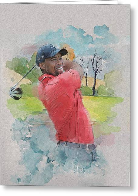 Watercolor Tiger Greeting Cards - Tiger Woods Greeting Card by Catf