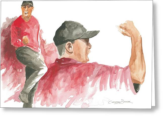 Red Tiger Greeting Cards - Tiger Woods Greeting Card by Christiaan Bekker