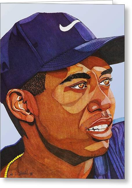 Tiger Woods Greeting Cards - Tiger Woods Greeting Card by Cory Still