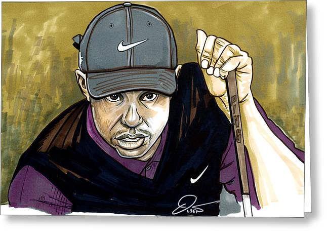 Tiger Woods Greeting Cards - Tiger Woods Greeting Card by Dave Olsen