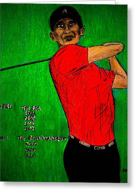 Us Open Golf Drawings Greeting Cards - Tiger Woods Greeting Card by David Cardwell