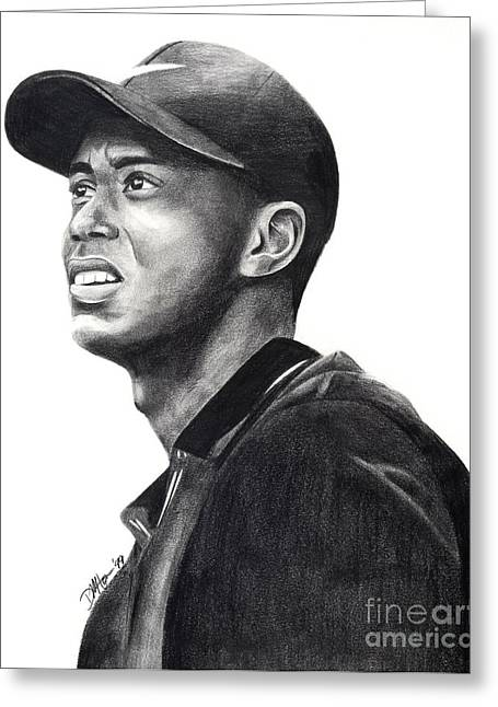 Nike Greeting Cards - Tiger Woods Driven Greeting Card by Devin Millington