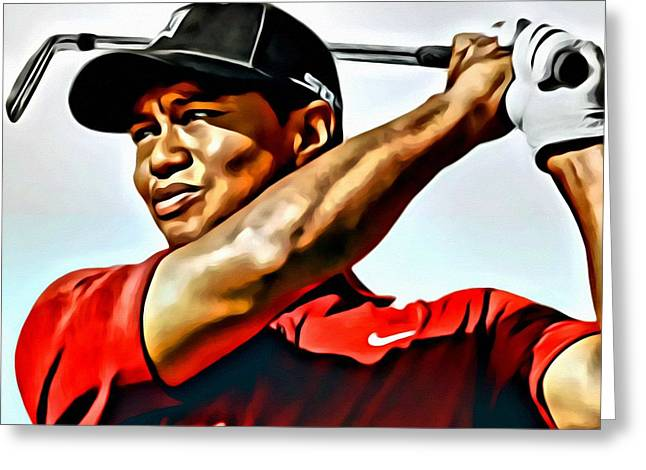 Watercolor Tiger Greeting Cards - Tiger Woods Greeting Card by Florian Rodarte