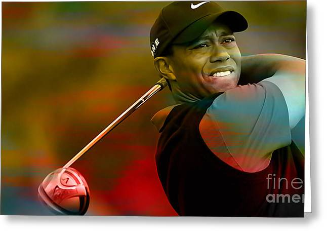 Golf Greeting Cards - Tiger Woods Greeting Card by Marvin Blaine