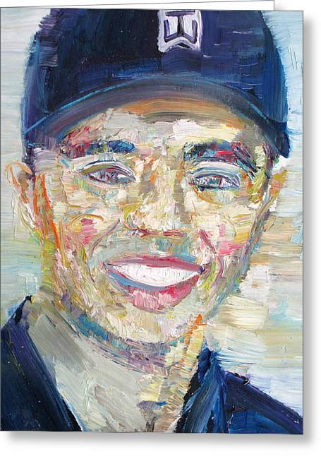 Tiger Woods Greeting Cards - TIGER WOODS - oil portrait Greeting Card by Fabrizio Cassetta