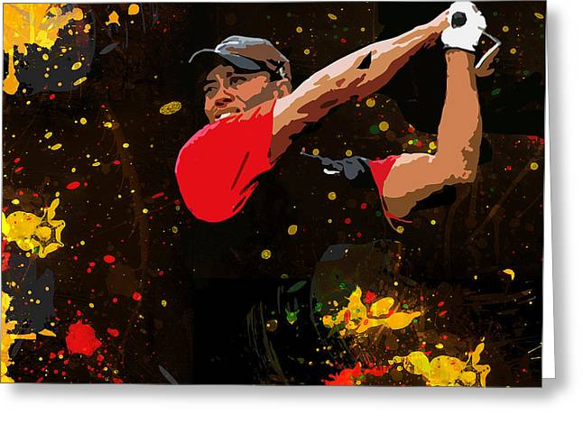 Us Open Golf Paintings Greeting Cards - Tiger Woods Splash Greeting Card by John Farr