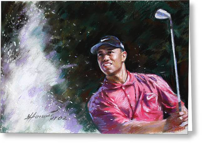 Professional Drawings Greeting Cards - Tiger Woods  Greeting Card by Viola El