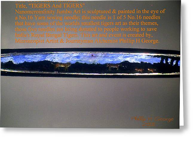Modern Microscopic Art Greeting Cards - TIGERS And TIGERS Greeting Card by Phillip H George