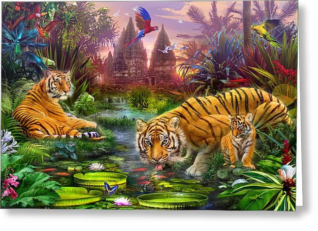 Tigers at the Ancient Stream Greeting Card by Jan Patrik Krasny