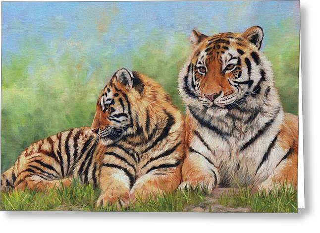 Tiger Greeting Cards - Tigers Greeting Card by David Stribbling