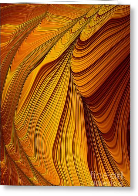 Mysterious Digital Greeting Cards - Tigers Eye Abstract Greeting Card by John Edwards