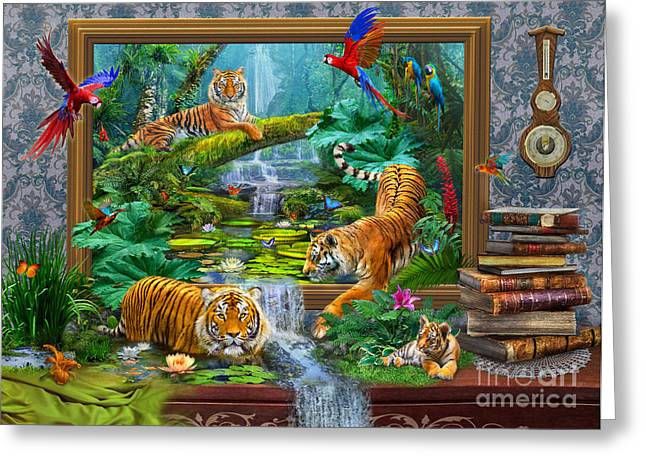 Tigers Digital Greeting Cards - Tigers Greeting Card by Jan Patrik Krasny