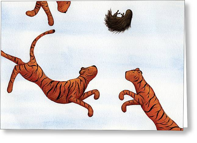 Tiger Drawings Greeting Cards - Tigers on a Trampoline Greeting Card by Christy Beckwith