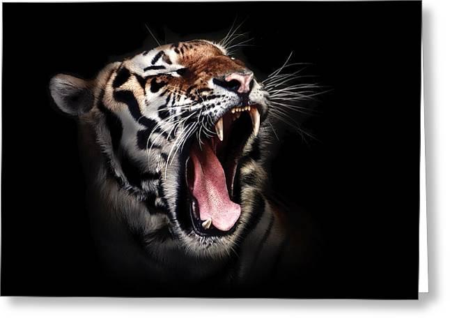 Growling Greeting Cards - Tigers Roar Greeting Card by Brigitte Werner