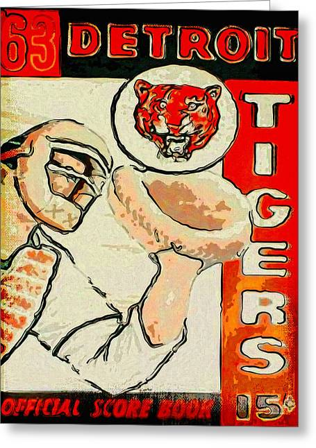 Detroit Tigers Baseball Art Greeting Cards - Tigers Score Book Greeting Card by John Farr