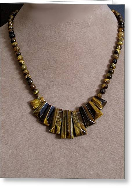 Gold Necklace Mixed Media Greeting Cards - TigersEye Greeting Card by Jan Brieger-Scranton