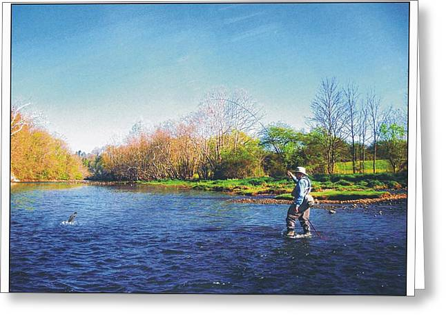 Flyfish Greeting Cards - Tight Line Greeting Card by Joe Duket