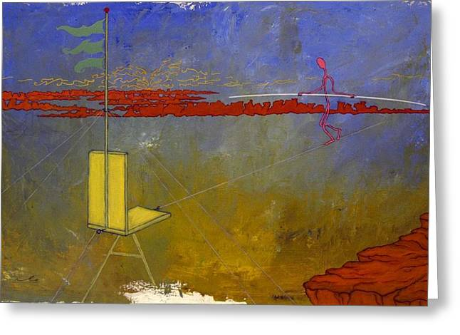 Lanscape Drawings Greeting Cards - Tight Rope Walker Greeting Card by Mike Thamert