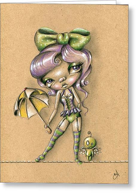 Tightrope Tricks Greeting Card by Sour Taffy