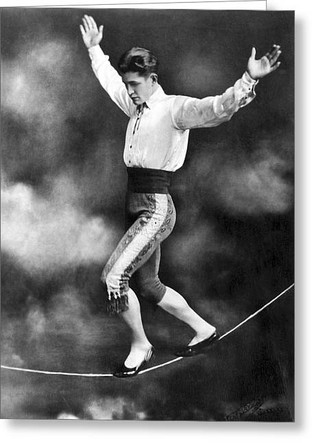 Tightrope Walker Con Colleano Greeting Card by Underwood Archives