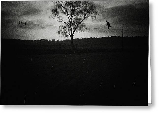 Tightrope Greeting Cards - Tightrope walker Greeting Card by Joanna Jankowska