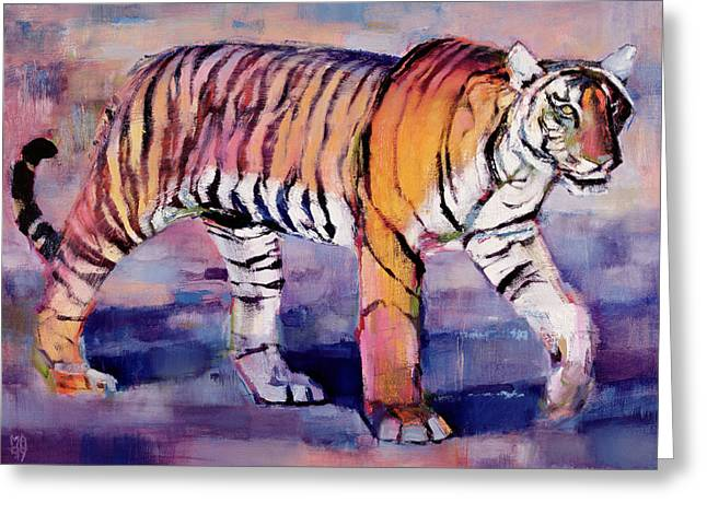 Tigris Greeting Cards - Tigress, Khana, India, 1999 Oil On Canvas Greeting Card by Mark Adlington