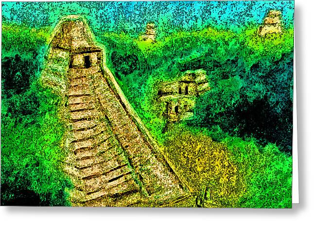 Ancient Ruins Pastels Greeting Cards - Tikal by jrr Greeting Card by First Star Art
