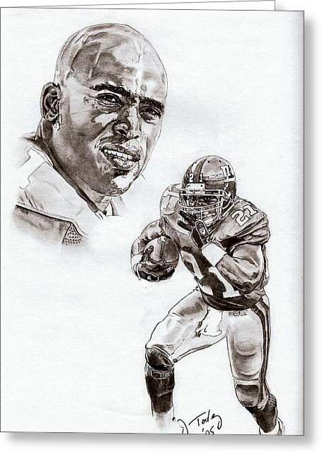 Pro Football Drawings Greeting Cards - Tiki Barber Greeting Card by Jonathan Tooley