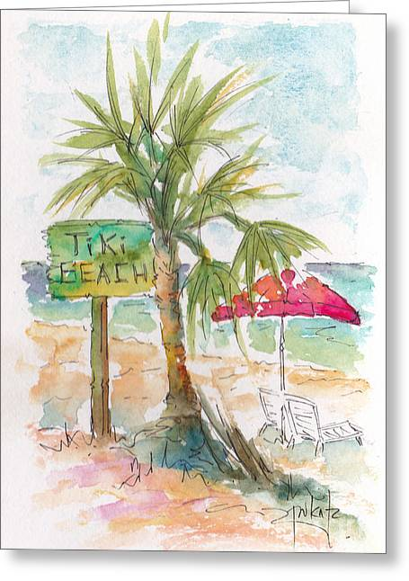 Viridian Greeting Cards - Tiki Beach Grand Cayman Greeting Card by Pat Katz
