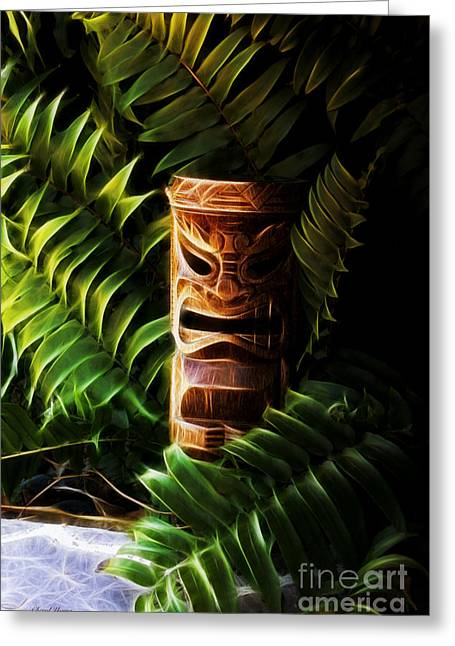 Tiki Art Greeting Cards - Tiki Greeting Card by Cheryl Young