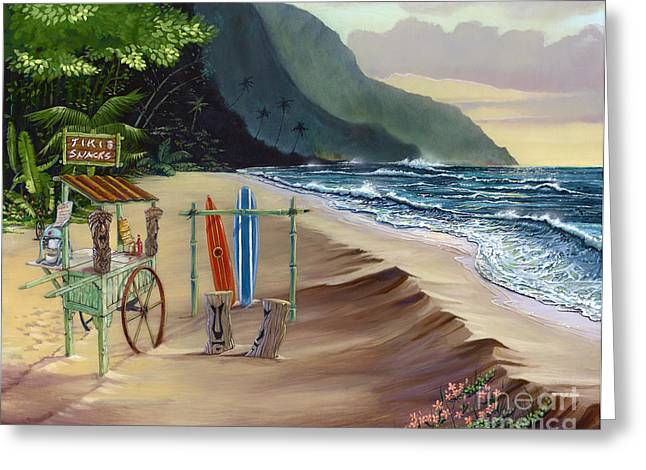 Sea With Waves Greeting Cards - Tiki For Two at Kee Beach Greeting Card by Bill Shelton
