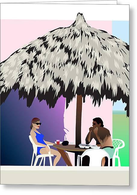 Unwind Mixed Media Greeting Cards - Tiki Hut Art Greeting Card by Robert Korhonen