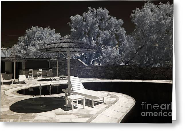 Ir Photography Greeting Cards - Tiki Lounge in Mykonos infrared Greeting Card by John Rizzuto