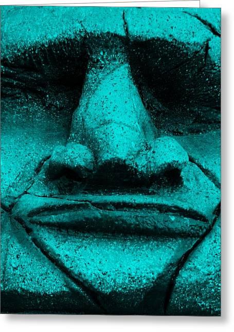 Polynesian Pop Greeting Cards - Tiki Mask Aquamarine Greeting Card by Rob Hans