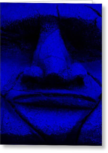 Polynesian Pop Greeting Cards - Tiki Mask Blue Greeting Card by Rob Hans