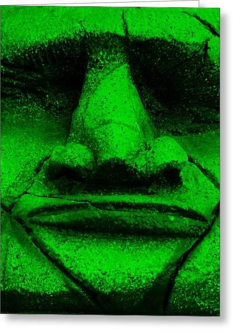 Polynesian Pop Greeting Cards - Tiki Mask Green Greeting Card by Rob Hans