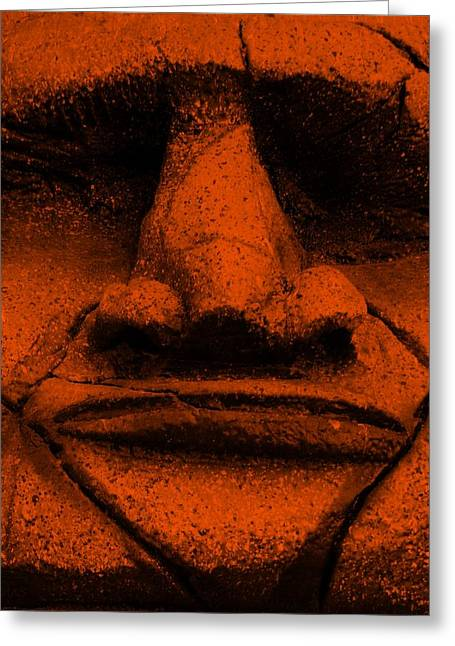 Polynesian Pop Greeting Cards - Tiki Mask Orange Greeting Card by Rob Hans