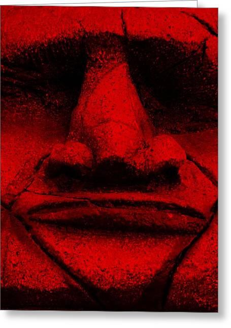Polynesian Pop Greeting Cards - Tiki Mask Red Greeting Card by Rob Hans