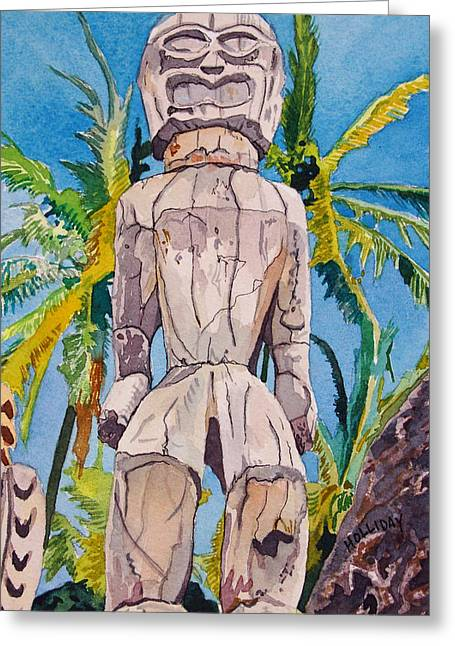 Wooden Sculpture Greeting Cards - Tiki Greeting Card by Terry Holliday