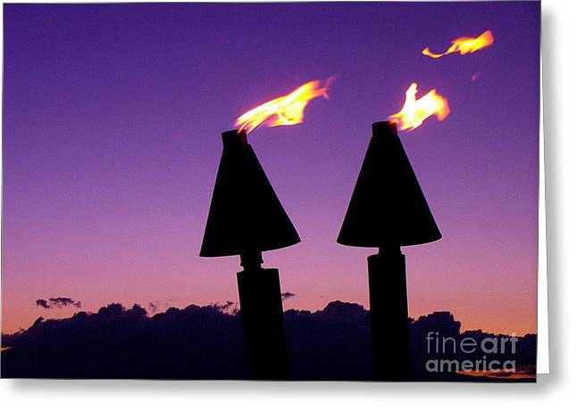 Lahaina Greeting Cards - Tiki Torches Greeting Card by Jerome Stumphauzer