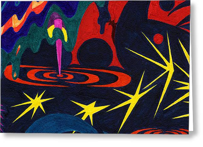 Cavern Drawings Greeting Cards - Tile 25 - Lights in the Sky Tonight Greeting Card by Sean Corcoran