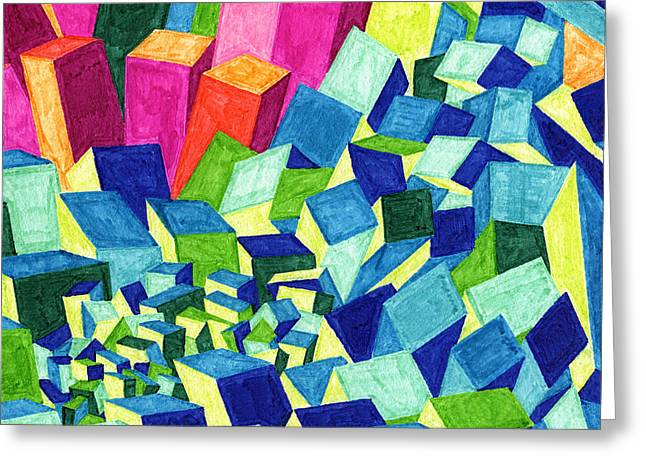 Tile 51 - City On The Hill Greeting Card by Sean Corcoran