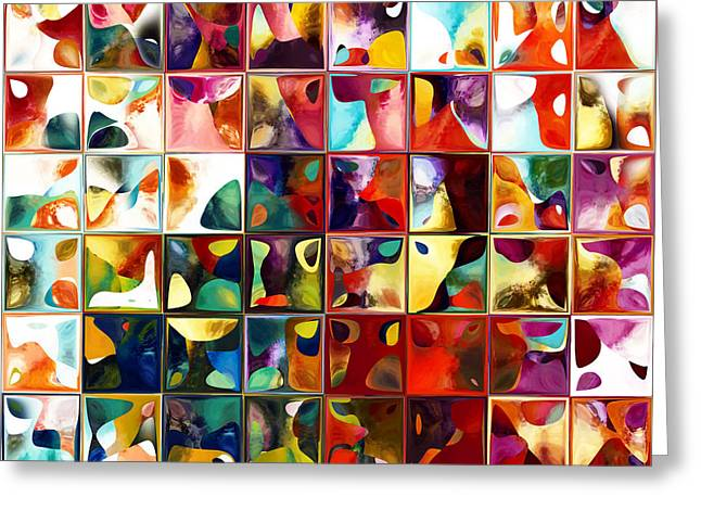 Tile Art 11 2013. Modern Mosaic Tile Art Painting Greeting Card by Mark Lawrence