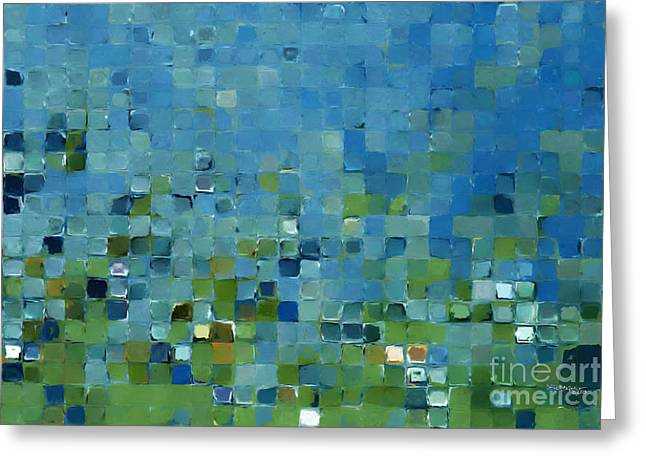 Tile Art 7 2013. Modern Mosaic Tile Art Painting Greeting Card by Mark Lawrence